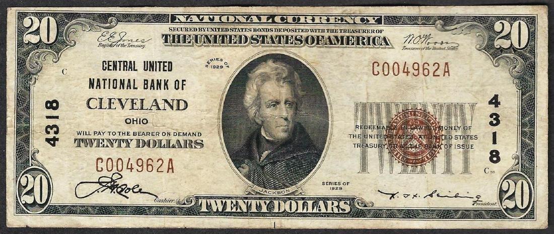 1929 $20 Central United National Bank of Cleveland