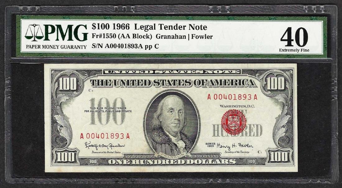 1966 $100 Legal Tender Note Fr.1550 PMG Extremely Fine