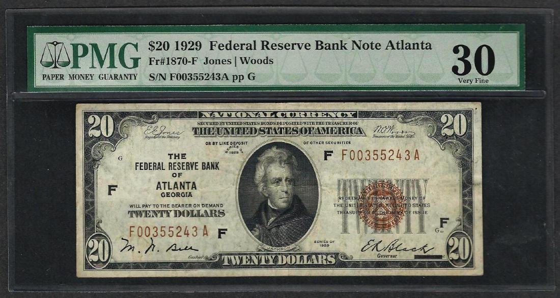 1929 $20 Federal Bank of Atlanta Fr.1870-F Note PMG
