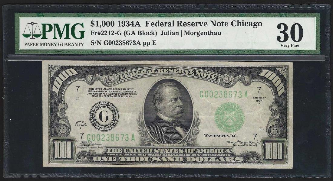 1934A $1000 Federal Reserve Note Chicago PMG Very Fine