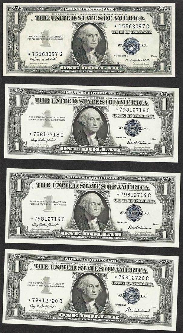 Lot of (4) 1935/1957 $1 Silver Certificate STAR Notes
