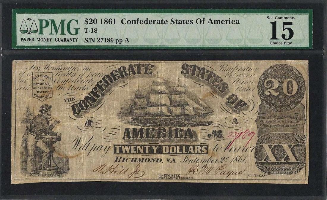 1861 $20 Confederate States of America Note T-18 PMG