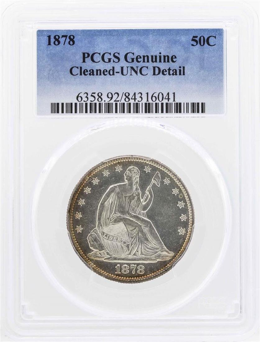 1878 Seated Liberty Half Dollar Coin PCGS Genuine Unc