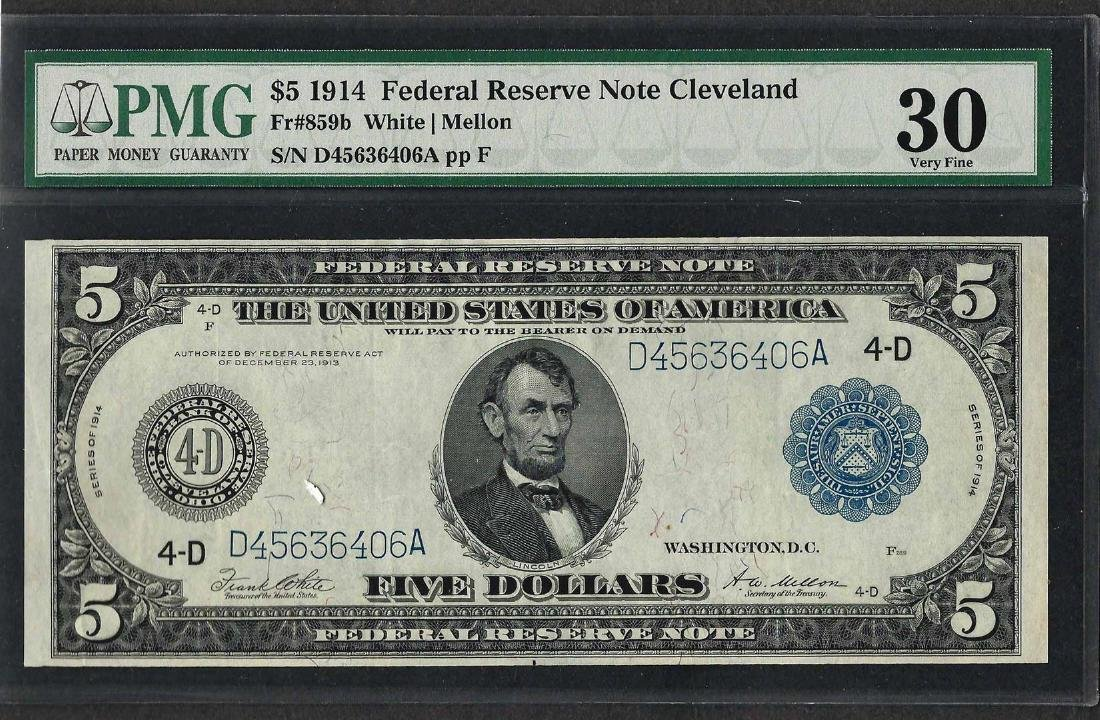 1914 $5 Federal Reserve Note Cleveland Fr.859b PMG Very