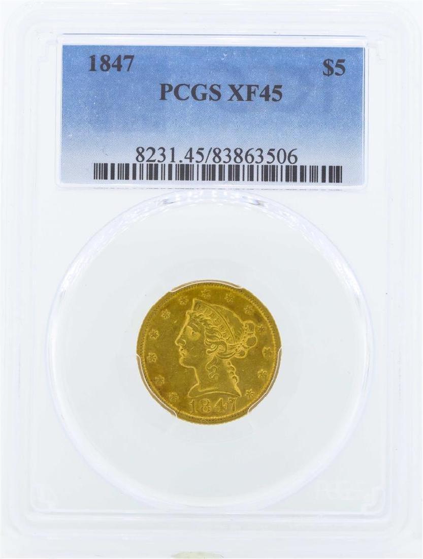 1847 $5 Liberty Head Half Eagle Gold Coin PCGS XF45