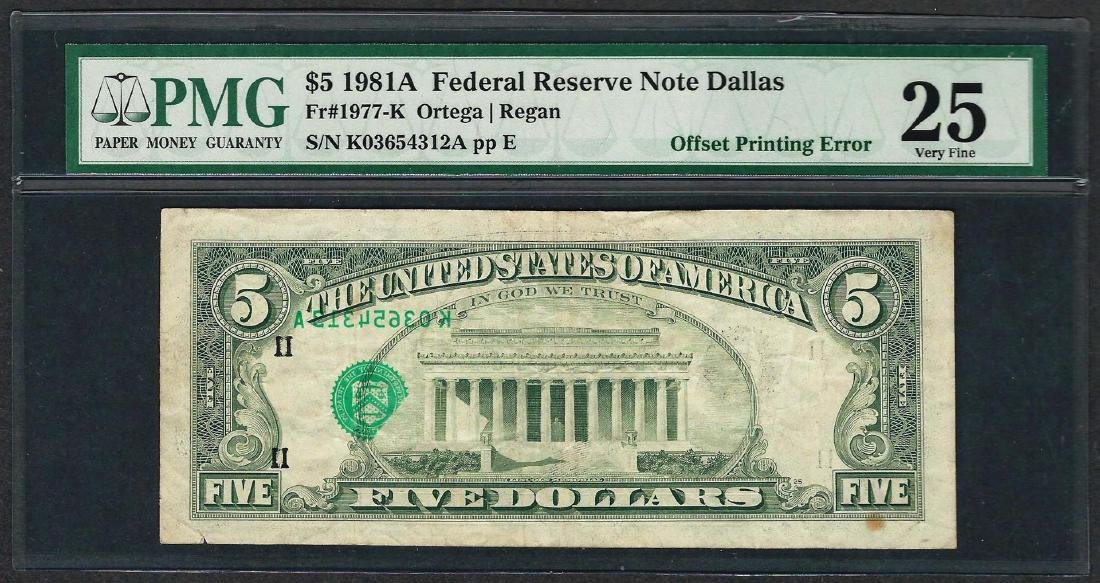 1981 $5 Federal Reserve Note ERROR Offset Printing PMG