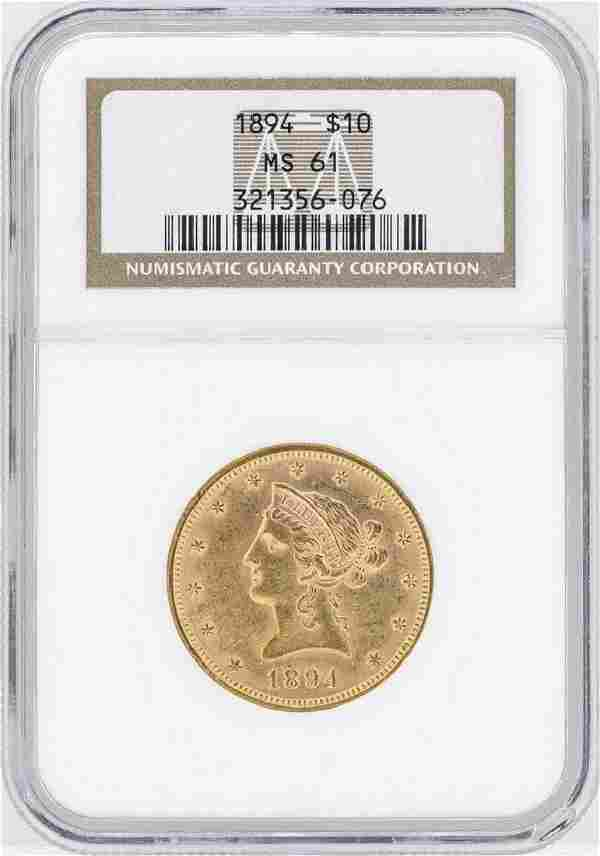 1894 10 Liberty Head Eagle Gold Coin NGC MS61