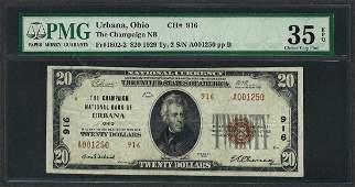 1929 20 National Currency Note Urbana Ohio CH 916