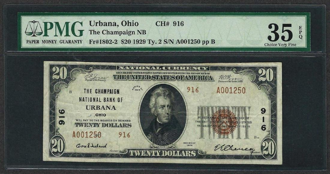 1929 $20 National Currency Note Urbana, Ohio CH# 916