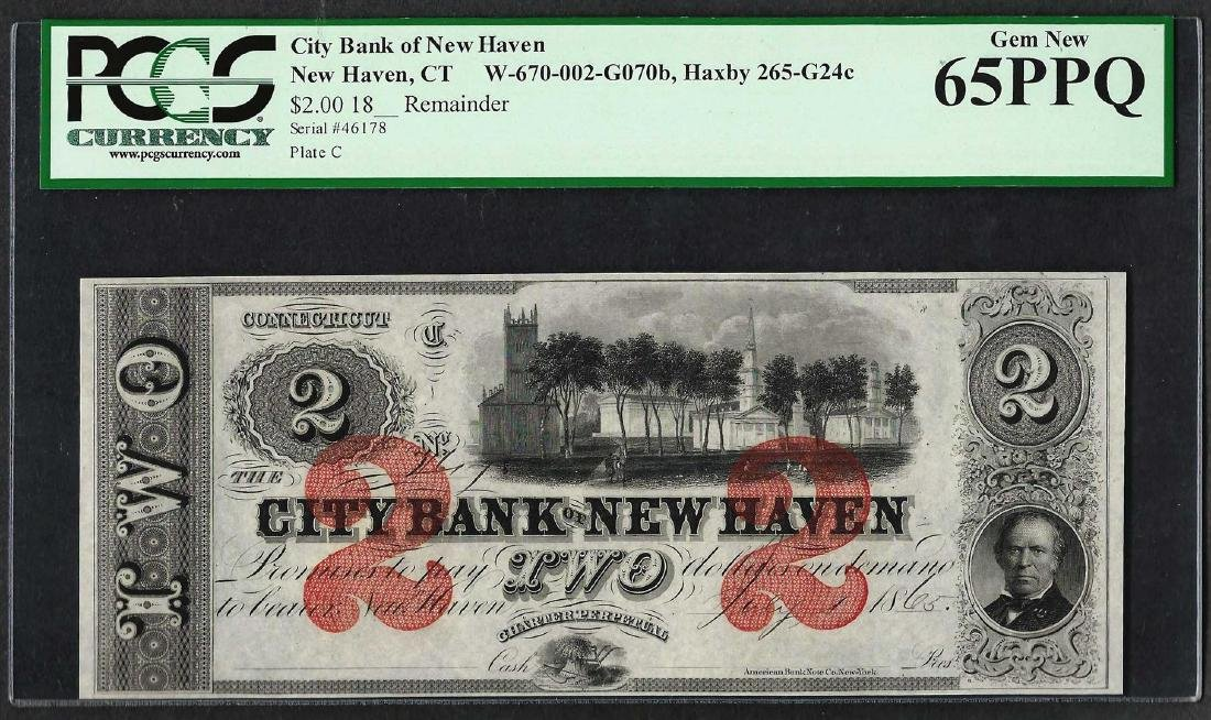 1865 $2 City Bank of New Haven Obsolete Note PCGS Gem