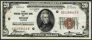 1929 20 Federal Reserve Bank of Chicago Note