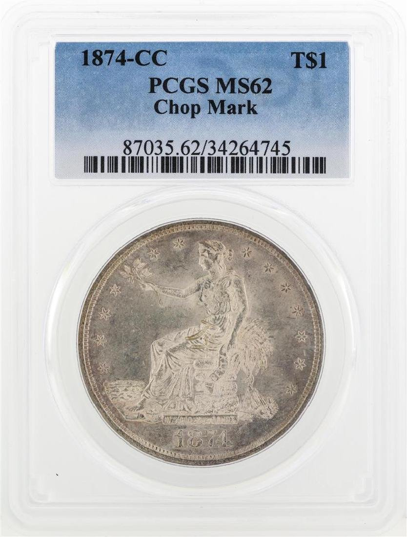 1874-CC $1 Trade Dollar Silver Coin PCGS MS62 Chop Mark