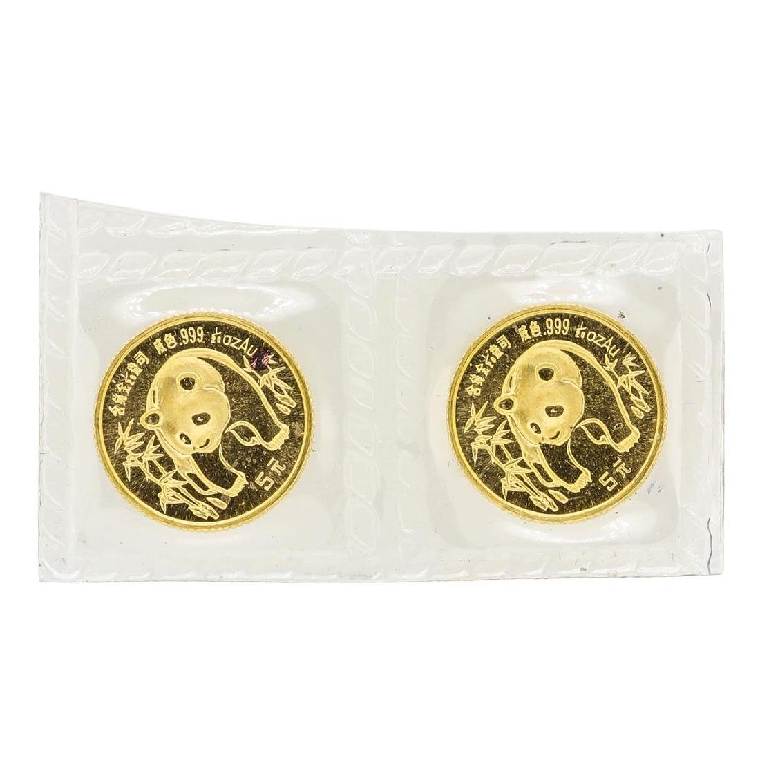 Lot of (2) 1986 1/20 oz. Gold Panda Coins Original