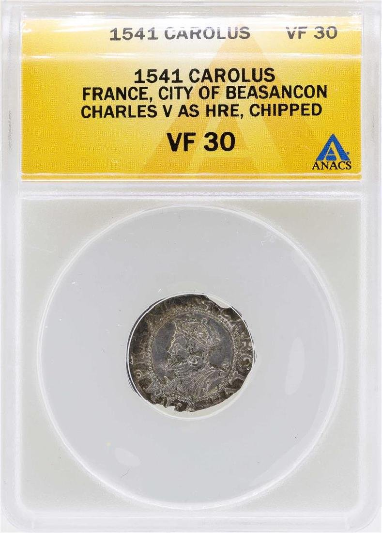 1541 France Carolus City of Beasancon Coin ANACS VF30