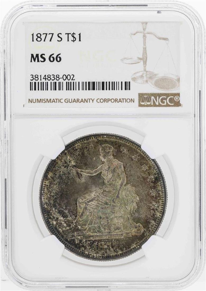 1877-S $1 Seated Liberty Trade Silver Dollar Coin NGC