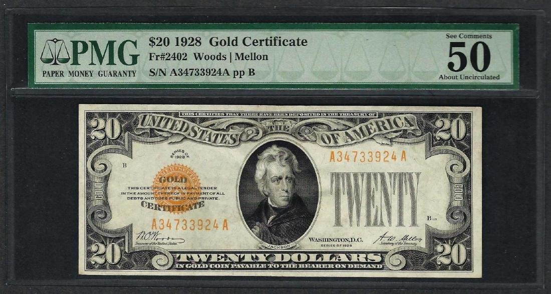 1928 $20 Gold Certificate Note Fr.2402 PMG About