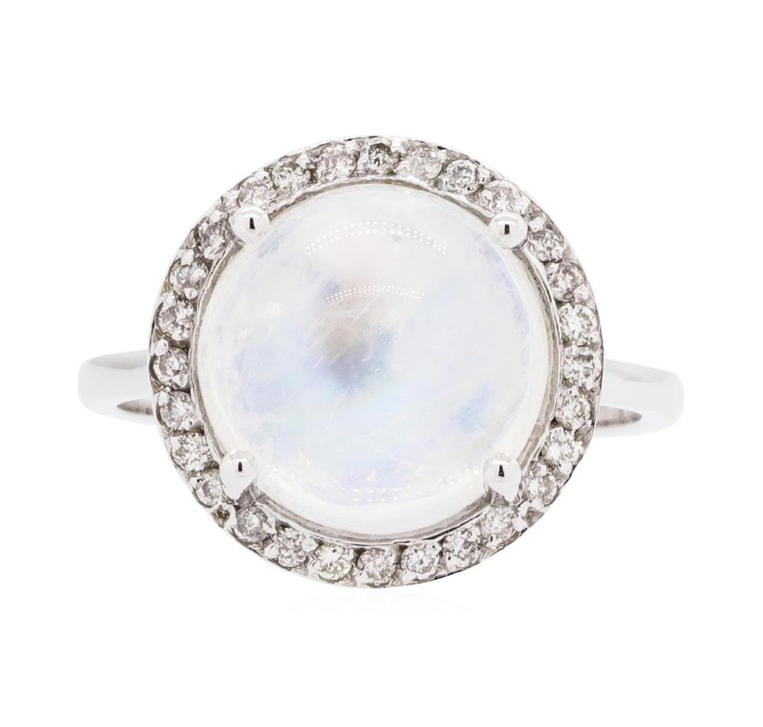 14KT White Gold Lady's 5.00 ctw Moonstone and Diamond