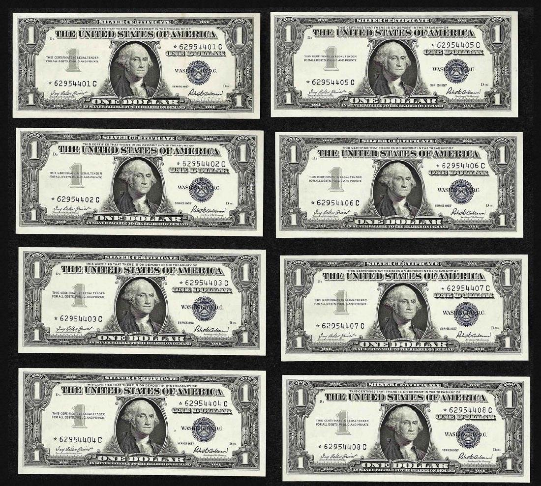 Lot of (8) Consecutive 1957 $1 Silver Certificate STAR
