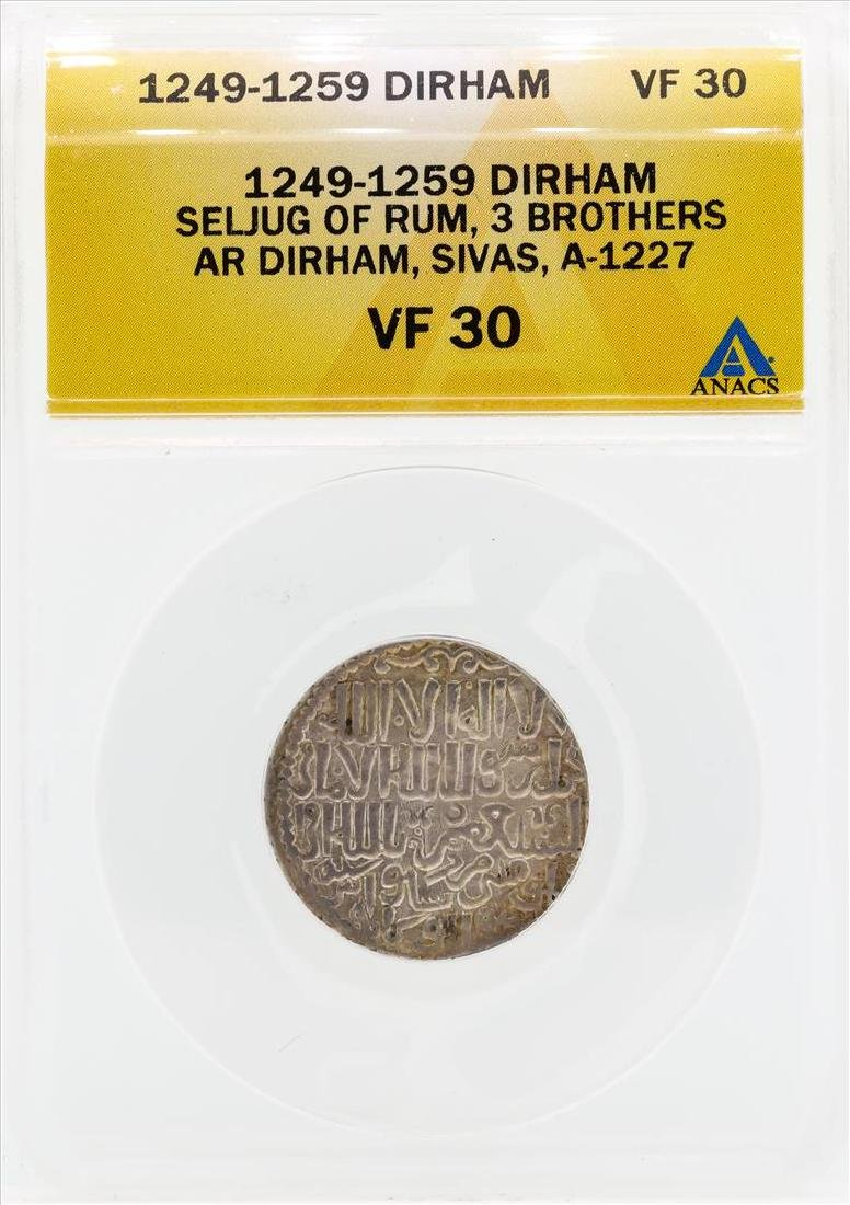 1249-1259 Dirham Seljug of Rum 3 Brothers Coin ANACS