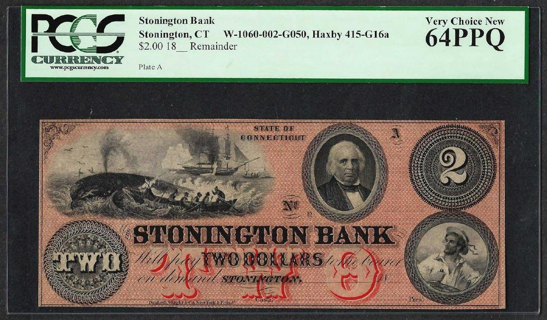 1800's $2 Stonington Bank Obsolete Currency Note PCGS