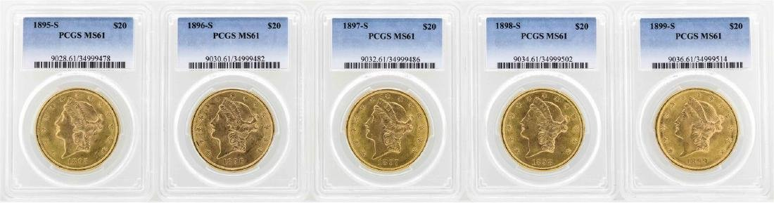 Lot of 1895-S to 1899-S $20 Liberty Head Double Eagle