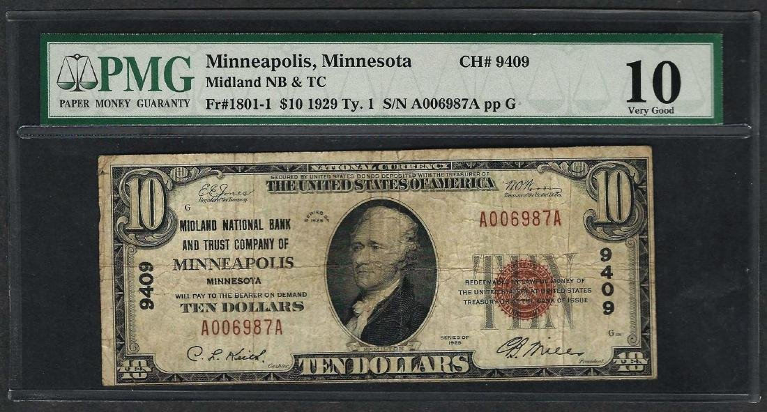 1929 $10 National Currency Note Minneapolis, Minnesota