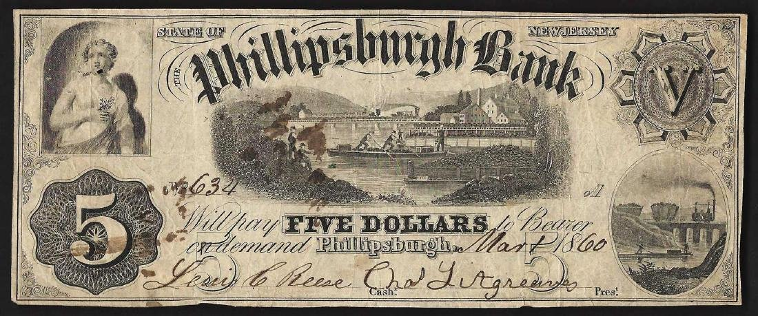 1860 $5 The Phillipsburgh NJ Obsolete Bank Note