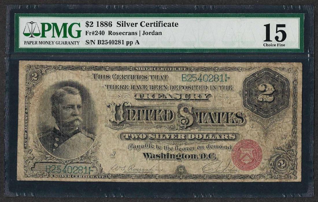 1886 $2 Hancock Silver Certificate Note Fr.240 PMG