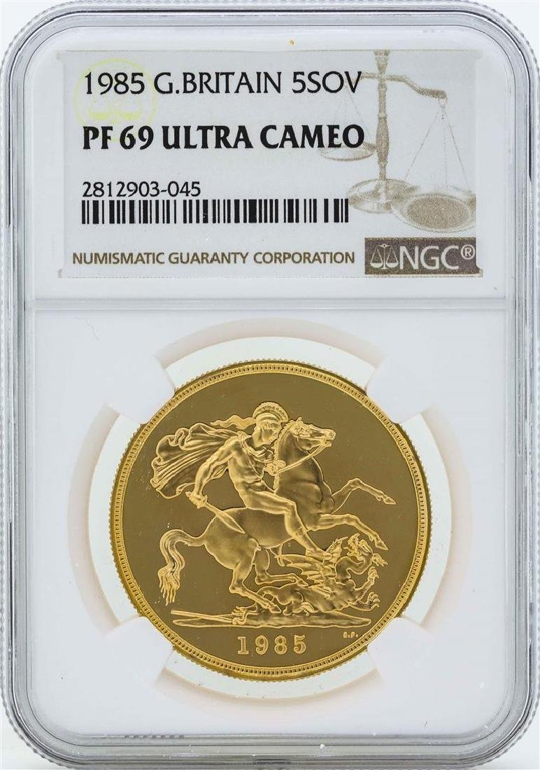 1985 Great Britain 5 Sovereign Gold Coin NGC PF69 Ultra