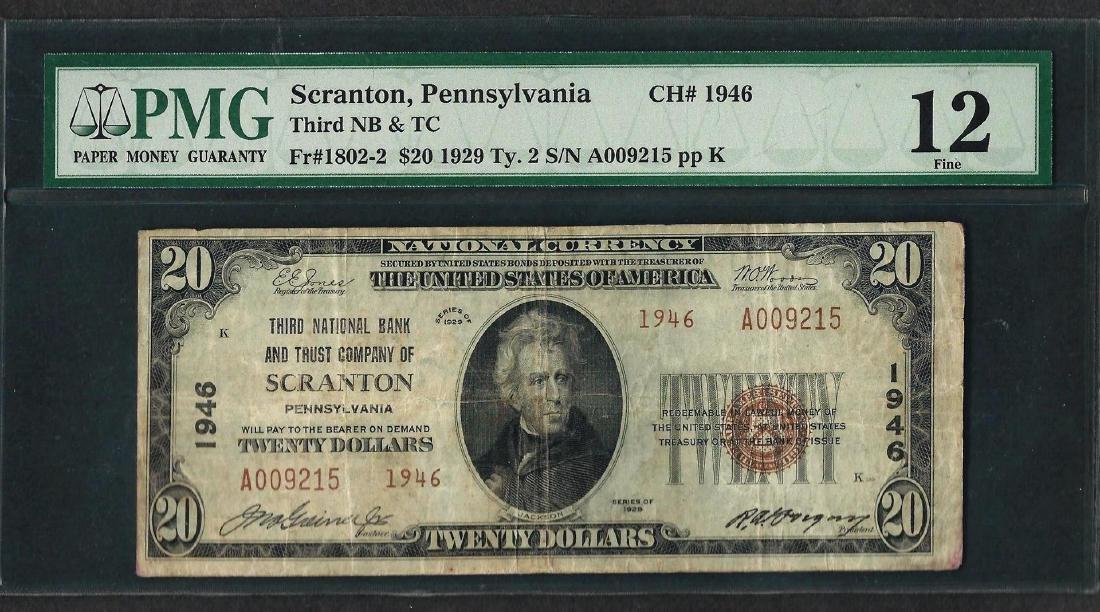 1929 $20 National Currency Note Scranton, Pennsylvania
