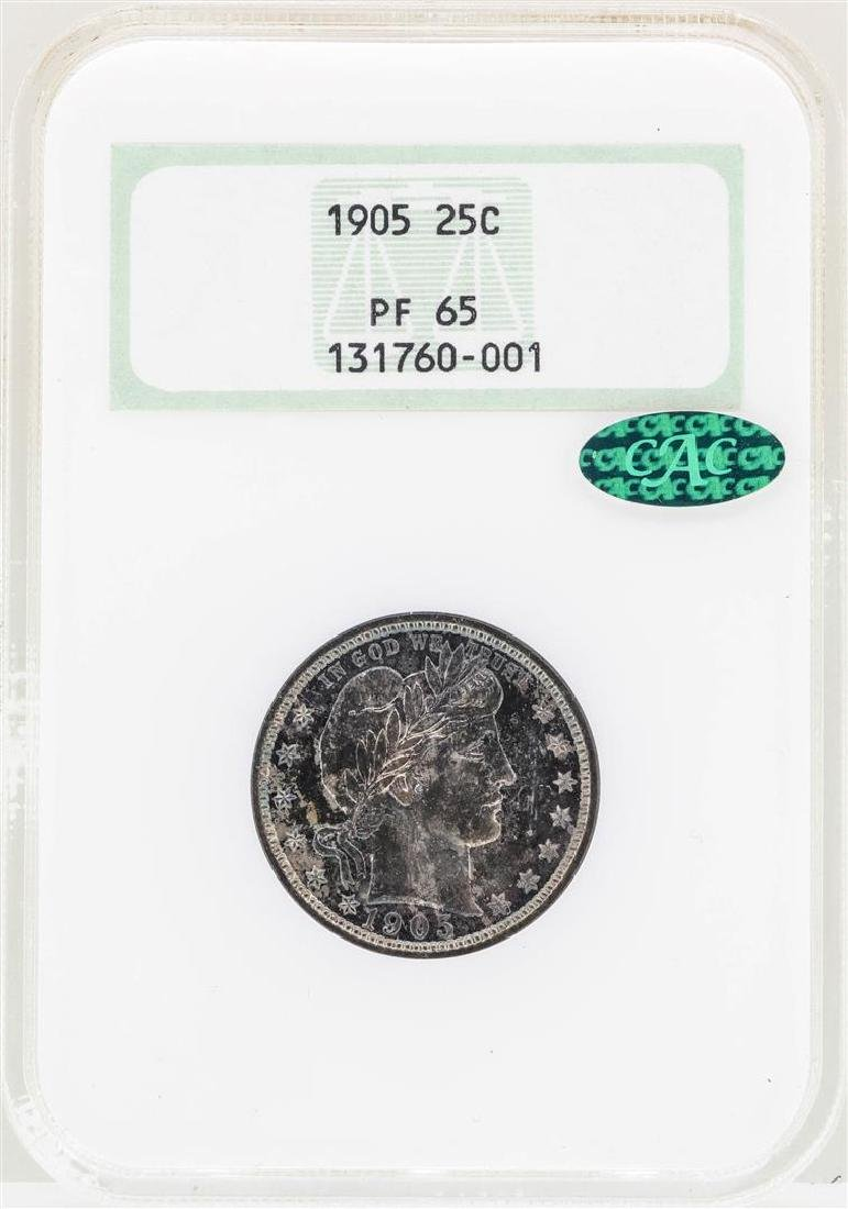 1905 Barber Quarter Silver Coin NGC PF65 CAC