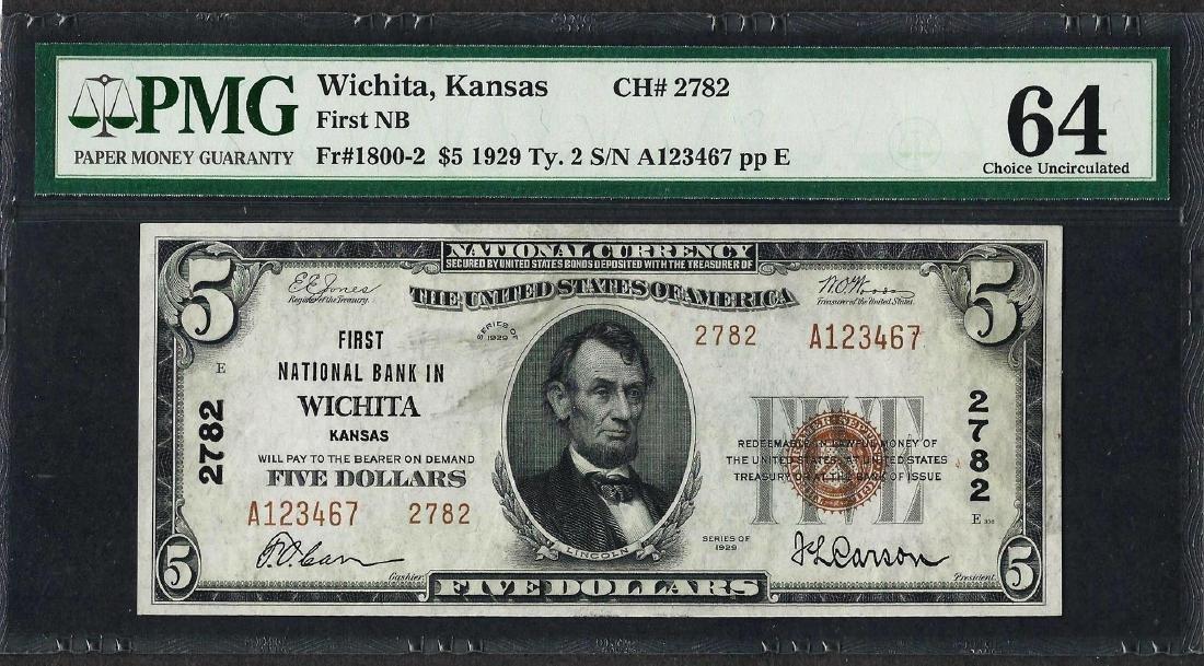 1929 $5 National Currency Note Wichita, KS CH# 2782 PMG