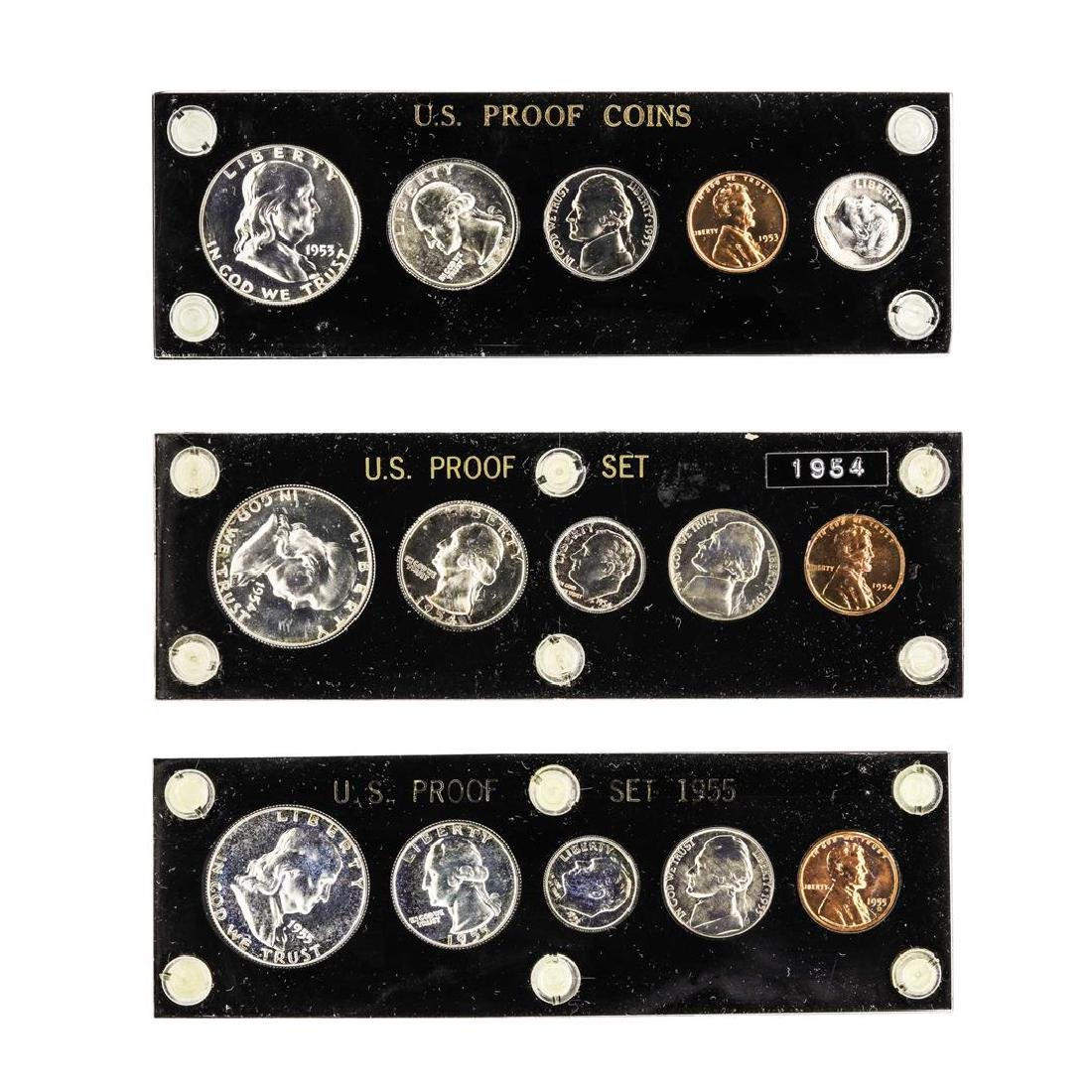 Set of 1953-1955 (5) Coin Proof Sets