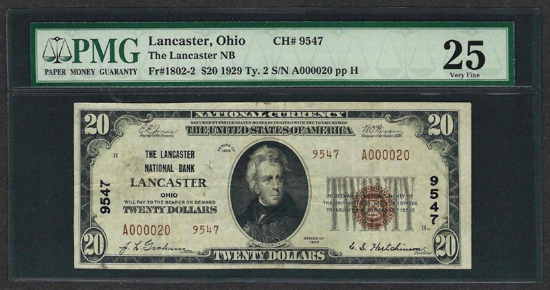 1929 $20 National Currency Note Lancaster, Ohio CH#