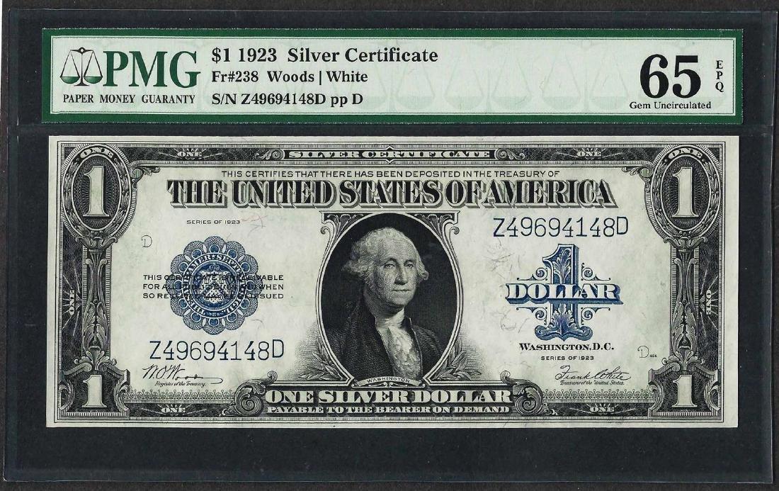 1923 $1 Silver Certificate Note Fr.238 PCGS Gem