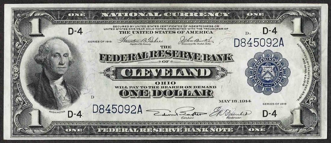 1918 $1 Federal Reserve Bank Note Cleveland