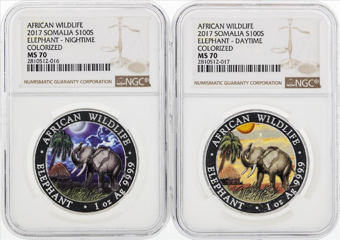 Lot of (2) 2017 Somalia 100 Shilling Elephant Colorized
