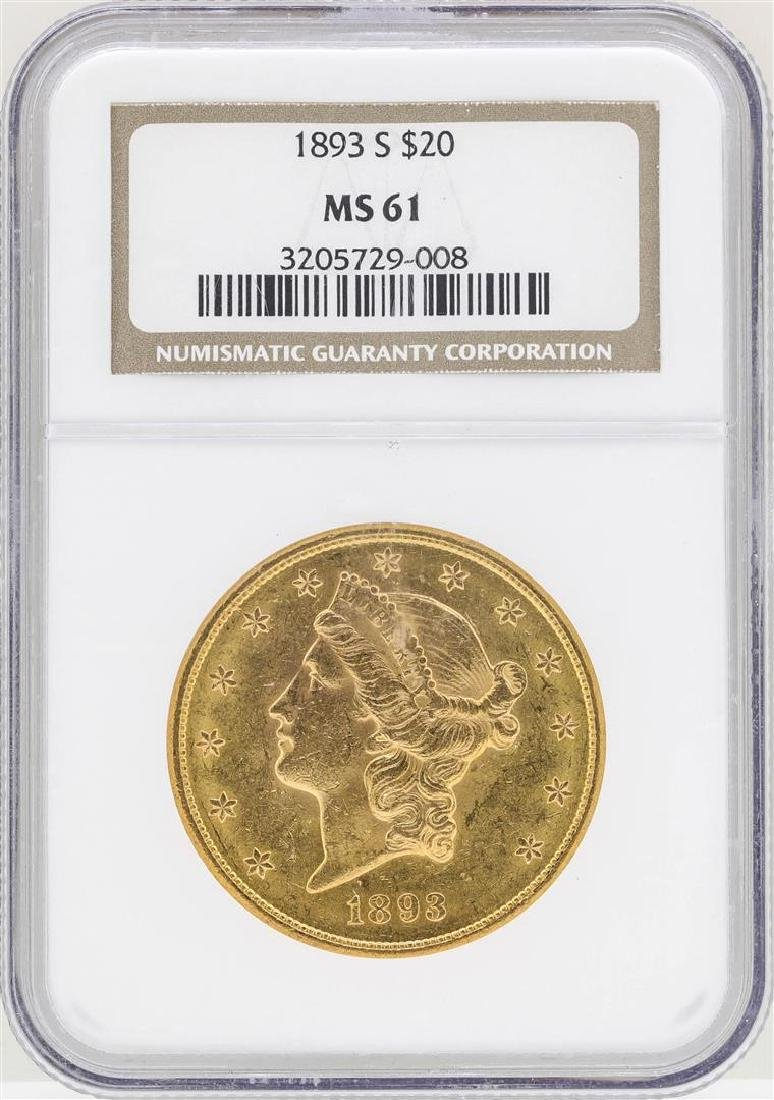 1893-S $20 Liberty Head Double Eagle Gold Coin NGC MS61