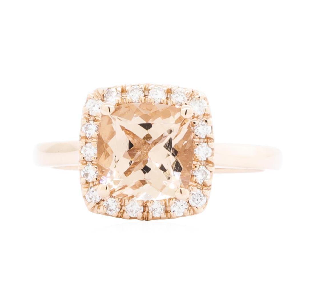 14KT Rose Gold Ladies 2.10 ctw Morganite and Diamond