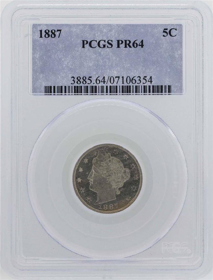 1887 Liberty V Nickel Proof Coin PCGS PR64