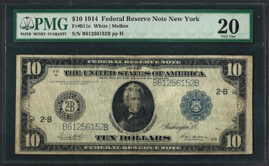 1914 $10 Federal Reserve Note New York Fr.911c PMG Very