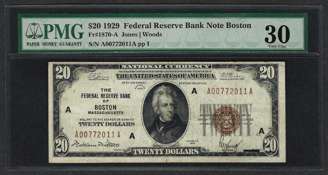 1929 $20 Federal Bank of Boston Fr.1870-A Note PMG Very