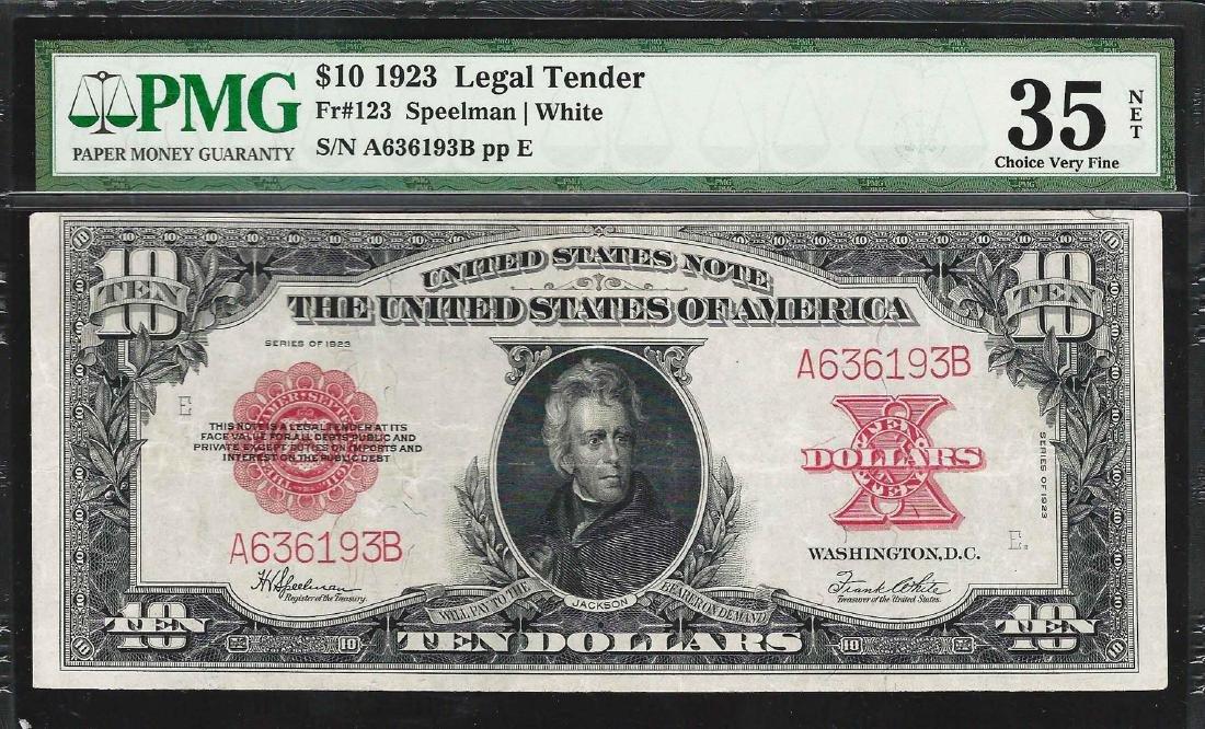 1923 $10 Poker Chip Legal Tender Note Fr.123 PMG Choice