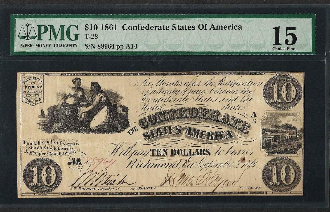 1861 $10 Confederate States of America Note T-28 PMG