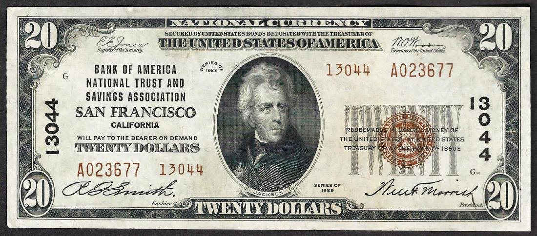 1929 $20 San Francisco California National Currency
