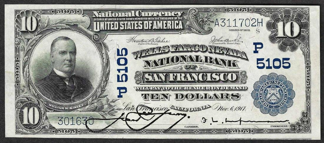 1902 $10 PB San Francisco, CA National Currency Note