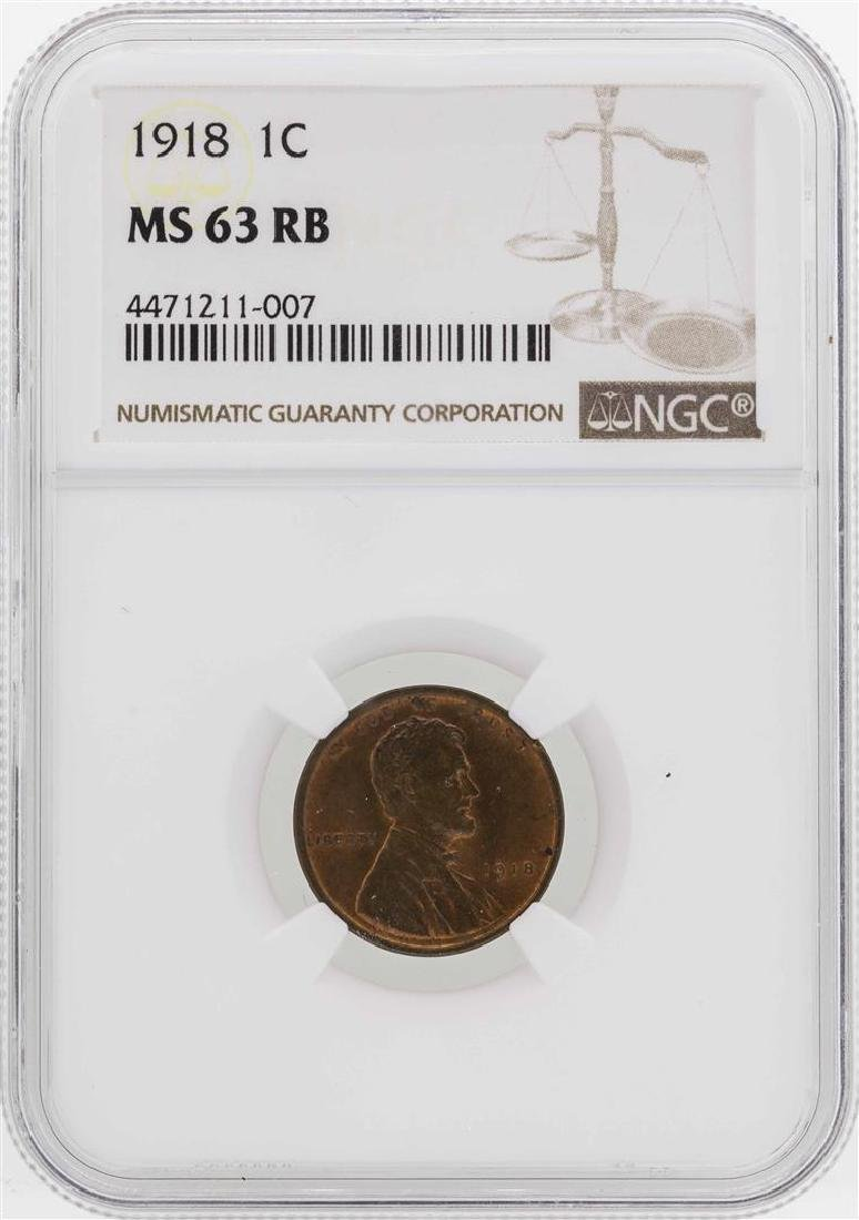 1918 Lincoln Wheat Penny Coin NGC MS63RB