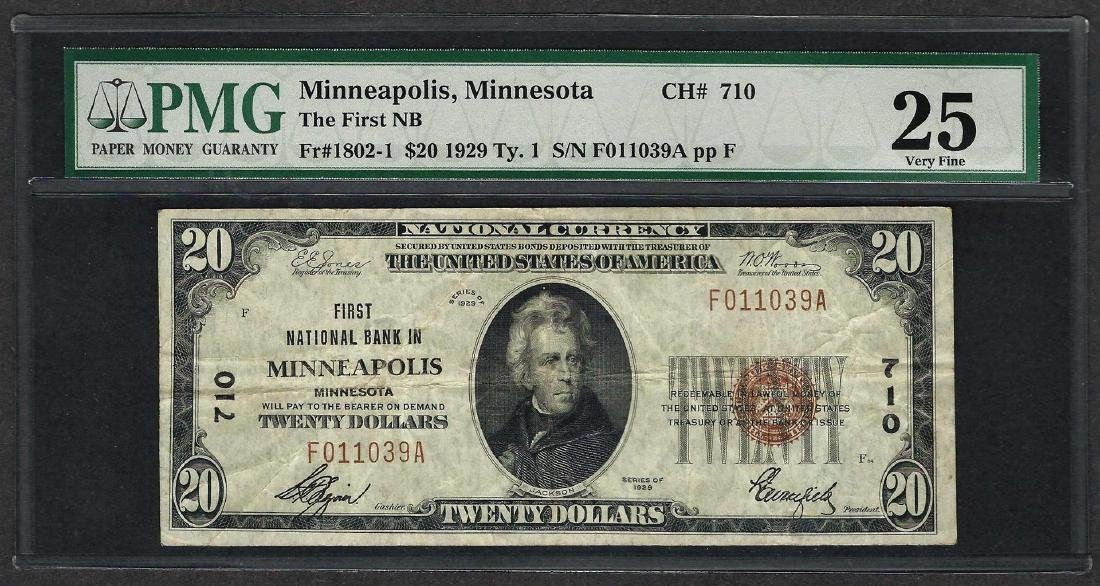 1929 $20 National Currency Note Minneapolis, Minnesota