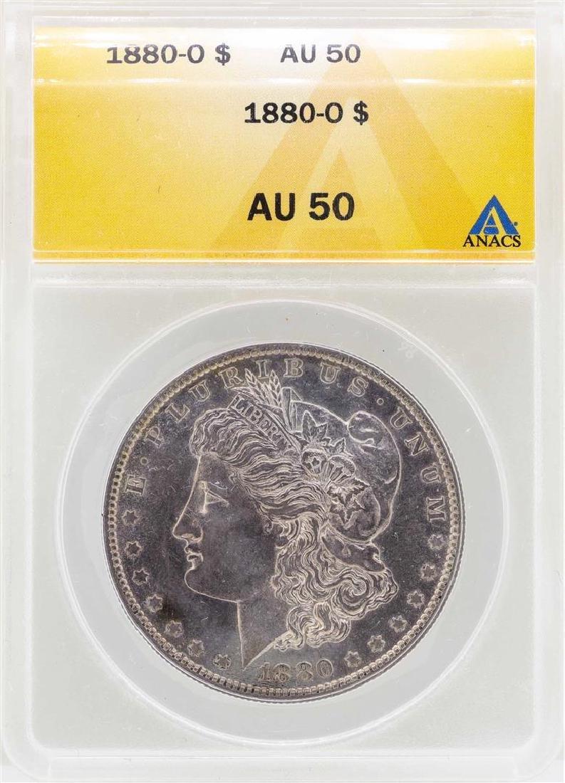 1880-O $1 Morgan Silver Dollar Coin ANACS AU50