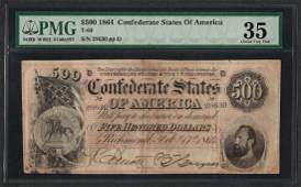 1864 500 Confederate States of America Note T64 PMG